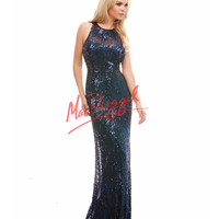 Cassandra Stone by Mac Duggal 4184A Midnight Blue Sequin Floor Length Gown 2015 Prom Dresses