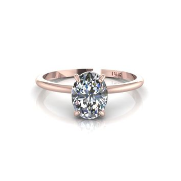 14K Rose Gold Oval Moissanite Solitaire Engagement Ring