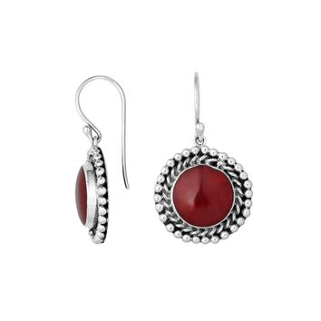 AE-6211-CR Sterling Silver Round Shape Earring With Coral