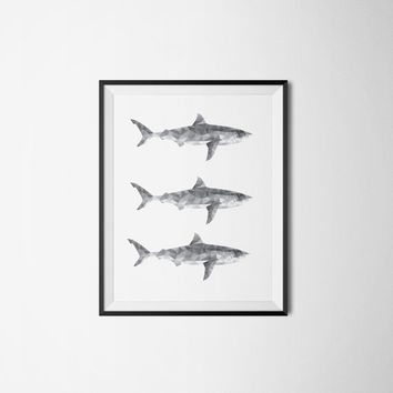 Printable poster, Black&white poster, Instant download, Fish poster, Geometric poster, Pattern poster, Kitchen poster, Kitchen art