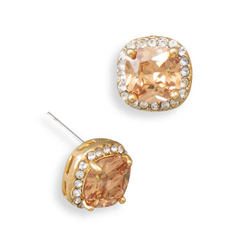 Gold Tone Soft Square Champagne Cubic Zirconia Fashion Post Earrings