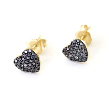 Black Diamond Heart Earrings