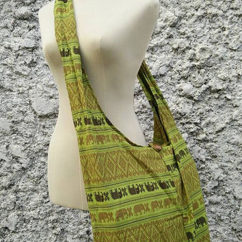 Cross body Shoulder Bag Sling Hippies Ikat Aztec Pattern handbags elephants hobo Boho Yam Diaper Tote Tribal Styles Aztec Unisex Men Green