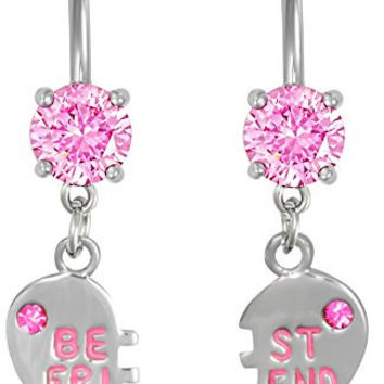 14g Surgical Steel Set of Best Friend Matching Pink Gem Dangle Heart Belly Button Rings