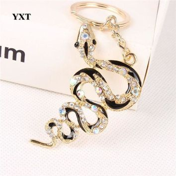 ONETOW New Snake Fortune Cute Crystal Charm Pendant Purse Handbag Car Key Keyring Keychain Creative Lucky Gift Collection