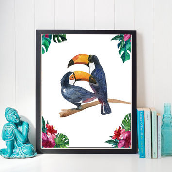 Bird Watercolor Print, Watercolor Tucan, Tropical Prints, Summertime Wall Art, Home Decor, Nursery Decor, Bird Wall Art, Printable Art