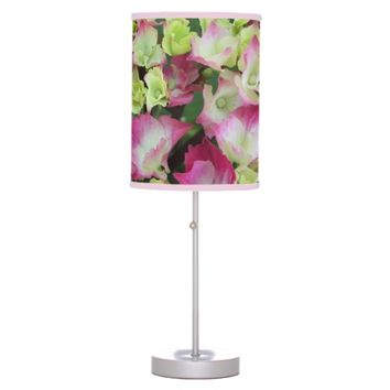 Pink Hydrangea Blossoms Floral Photo Table Lamp
