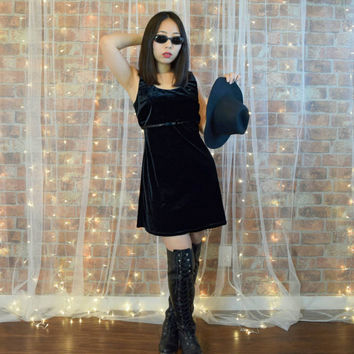 Vintage 90s Grunge Black Velvet  Short Dress