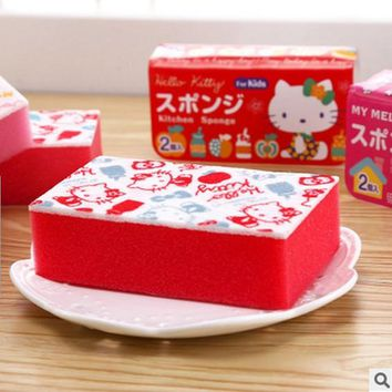 Kawaii Cartoon Hello Kitty My Melody Home Kitchen Dish Cup Cleanning Spongbob With Retail Pack Per Pcs