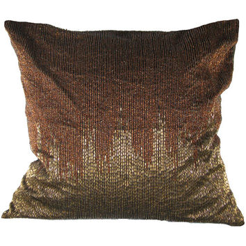Design Accents KSS-0017 - Copper Copper Beads Poly Blend 20 x 20 Decorative Pillow