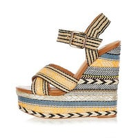 Orange print espadrille wedges