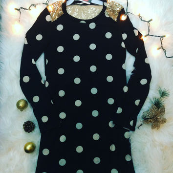 SPOT ON SEQUIN TUNIC DRESS IN BLACK