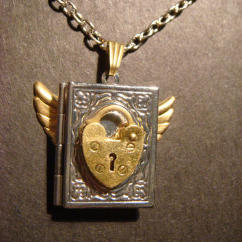 Steampunk Locket Necklace with Brass Heart Lock by CreepyCreationz