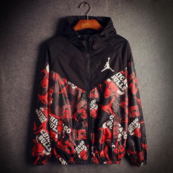 Black Jordan 23 Chicago Bulls Print Loose Unisex Windbreaker Coat