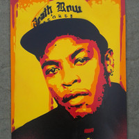DR DRE painting on card,stencils,spraypaints,hip hop,rap,music,west coast,los angeles,death row records,orange,yellow,red,black,producer,G