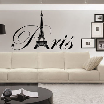 Paris Wall Decals Eiffel Tower Decal Vinyl Lettering- France Paris Eiffel Tower Wall Art Girls Room Bedroom Living Room Dorm Home Decor 0039