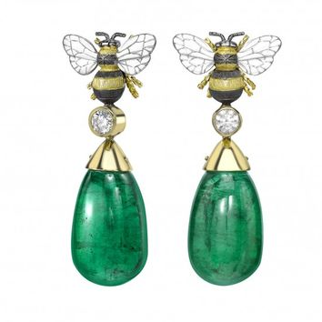Gemfields Emerald Bee Drop Earrings - Earrings - FINE JEWELLERY