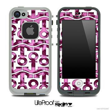 White and Pink Cheetah Print Anchor Collage Skin for the iPhone 5 or 4/4s LifeProof Case