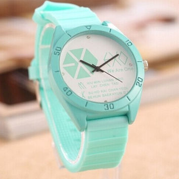 EXO 2014 NEW Womens Girls Fashion Casual Ladies All-Macthed Candy Colored Sports Crystal WristWatches 7 Colors = 1958413700