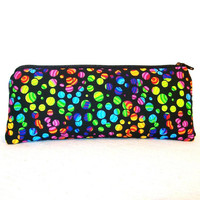 "Trippy Rainbow Bubbles Print Cotton Padded Pipe Pouch 7.5"" / Glass Pipe Case / Spoon Cozy / Piece Protector / Pipe Bag / LARGE"