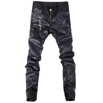 Skinny Men Gothic Punk Fashion Faux Leather Pants