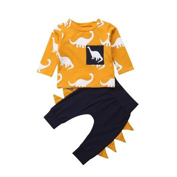 Kids Toddler Baby Boys Girls Clothes Set Autumn Long Sleeve Dinosaur T Shirt Tops Pants Cotton Boy Girl Clothing Outfits 2PCs