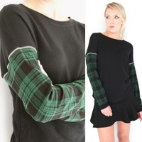 GRUNGE CHECKED FLANNEL ZIPPER SLEEVES SWEATER PULL OVER JUMPER 6 8 10 12