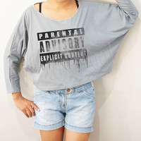 Galaxy Parental Advisory Explicit Content Shirt Text Shirt Bat Sleeve Shirt Crop Long Sleeve Oversized Sweatshirt Women TShirt - FREE SIZE