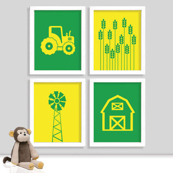 Tractor Boy Farm Nursery Print Set - Farm Room - Tractor Room - Boy Nursery - Boy Room