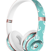 Teal and White Micro Anchors Full-Body Skin Kit for the Beats by Dre Solo 3 Wireless Headphones
