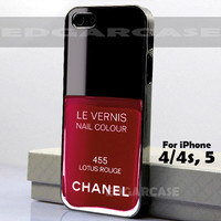 455 Lotus Rouge, Le Vernis - Hard Cover, Nail Polish - For iPhone 4 / 4S, iPhone 5 - Black / White Case