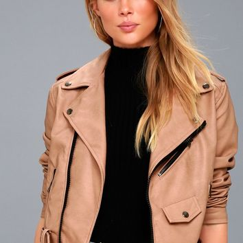 Maryella Nude Vegan Leather Moto Jacket