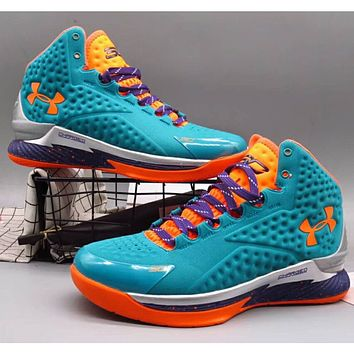 Under Armour UA CURRY Curry 1st Generation High Top Basketball Shoes F-A36H-MY light blue