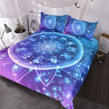 BlessLiving Zodiac Bedding Set Lotus Mandala 3pcs Bling Glitter Galaxy Burgundy Bedclothes Indian Astrology Hippie Duvet Cover