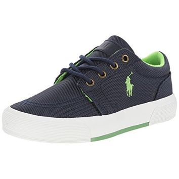 Polo Ralph Lauren Kids Faxon II Fashion Sneaker, Navy/Green, 2 M US Little Kid