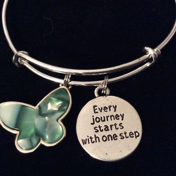 Every Journey Starts with One Step Green Butterfly Jewelry Expandable Silver Charm Bracelet Adjustable Bangle Gift