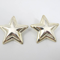 Sterling Silver Star Earrings. Large Star Shaped Stud Earrings. Mexico Sterling Jewelry.