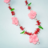 Pink Polymer Clay and Bamboo Beaded Necklace