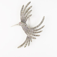 Vintage Sterling Hummingbird Brooch with Marcasite