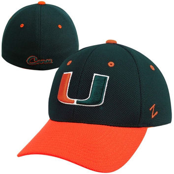 Zephyr Miami Hurricanes Pursuit Two-Tone Flex Hat - Green