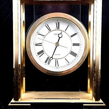Seiko Mantle Clocks Quartz Clock Wood Brass Glass Seiko Mantle Clock Vintage