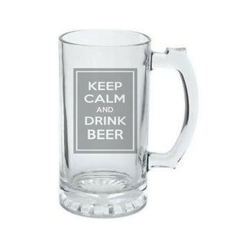 Keep Calm and Drink BEER, Birthday Gift, Fraternity Gift, College Gift, DEEP Etched Glass Beer Mug, Christmas Gift, Dad Gift