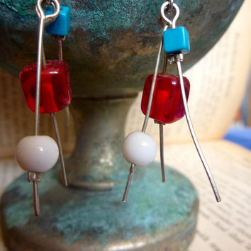 Red, White and Blue Beaded Wire Earrings