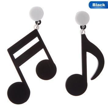 Fashion Night Club Party Big Acrylic Black White Punk Style Drop Earrings Music Note Earring Musical Jewelry For Women