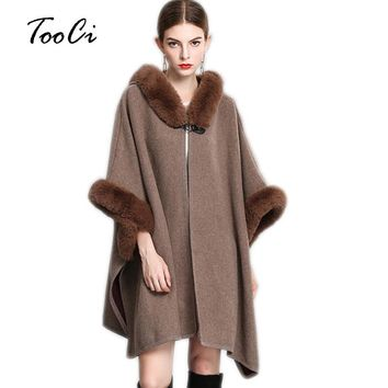 Elegant Women Faux Fur Hooded Coat Fake Rabbit Fur Collar Shawl Poncho And Caps Ladies Loose Long Knitted Cardigan Sweater
