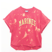 Distressed Marines Tee, Red and Yellow