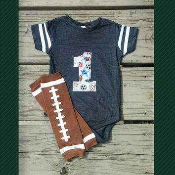 Sports First Birthday Outfit - Football - Sports Cake Smash Outfit - Soccer - Basketball - Second Birthday - Photo Prop - Boy