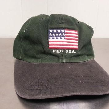 Distressed Vintage 90¡¯s Polo Ralph Lauren American Flag Strapback Dad Hat Made In USA