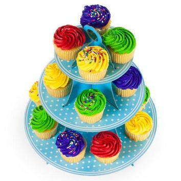 Blue Polka Dot 3 Tier Cupcake Stand, 14in Tall by 12in Wide