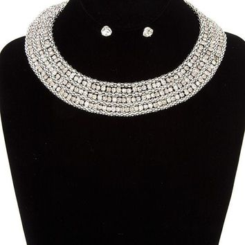 Rhinestone pave collar necklace set